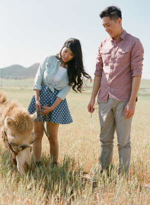 Casual Zoo Engagement Shoot With Camel