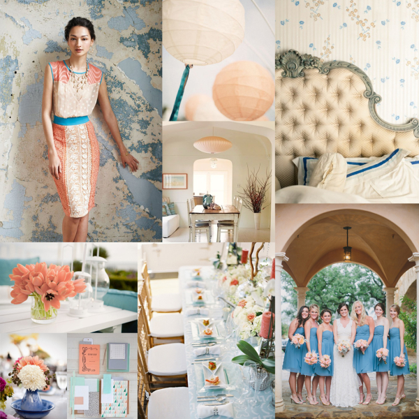 Cobalt Sea Glass Peach Wedding Colors