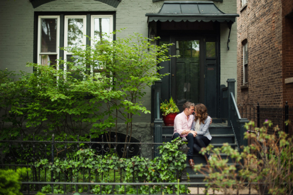 Couple Sitting on Chicago Front Stoop