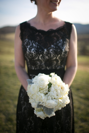Cream Floral and Dusty Miller Bouquet