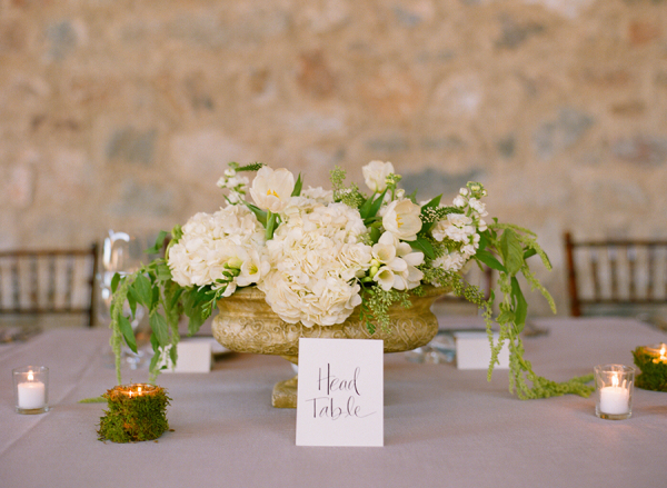 Cream Floral and Green Moss Centerpiece