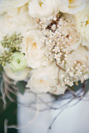 Cream Rose and Babys Breath Bouquet