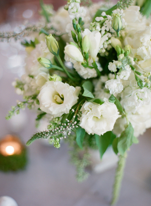 Cream and Green Floral Centerpiece
