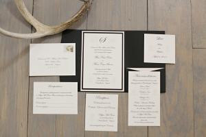 Elegant Black and Cream Wedding Invitations