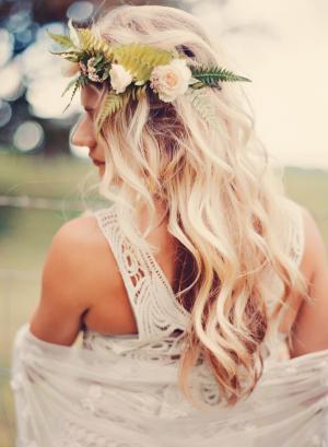 Fern and Blush Rose Hair Wreath