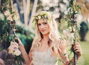 Fern and Rose Hair Wreath