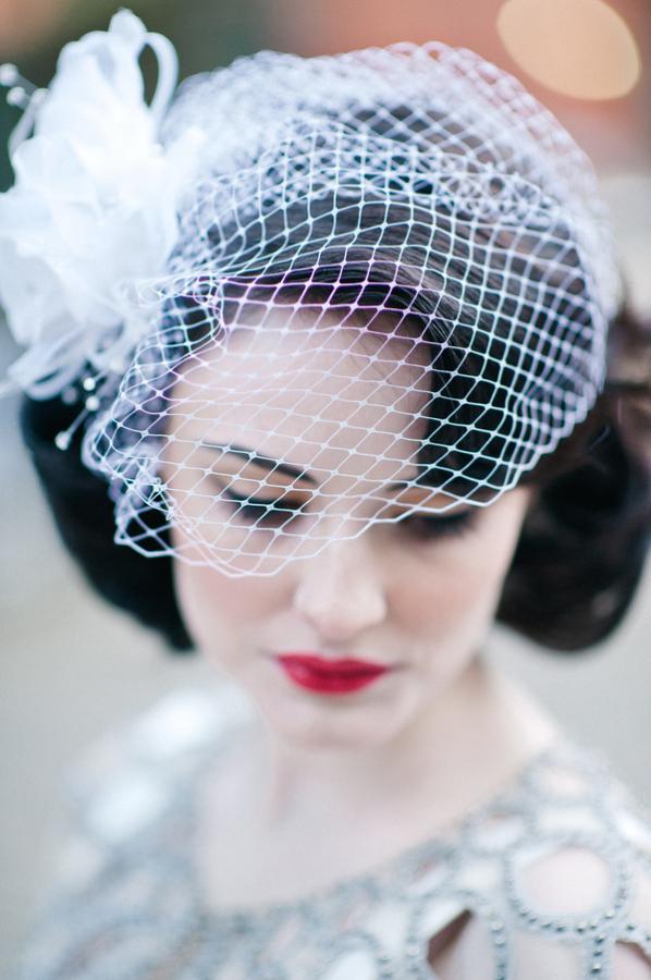 Fishnet Veil Headpiece