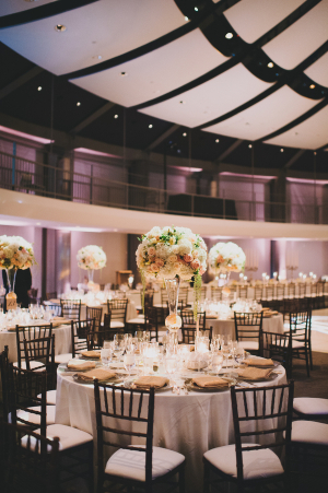 Floral Topiaries in Glass Vases Reception Decor