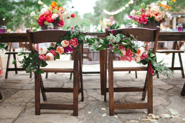 Flower and Wax Leaf Garland on Reception Chairs