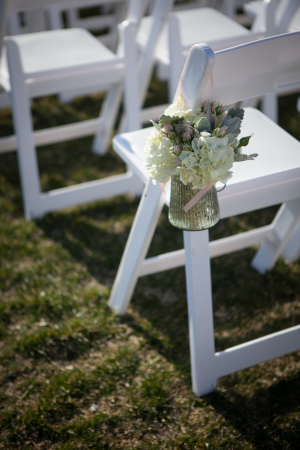 Flowers in Mercury Glass Vase Chair Decor