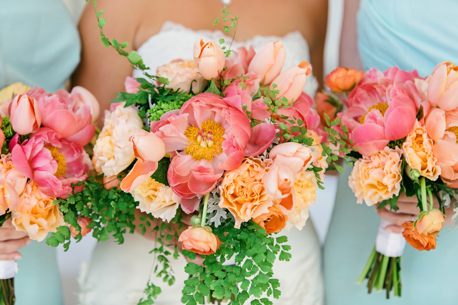 Coral Wedding Ideas 92 Luxury Fluffy Pink Orange Bouquets