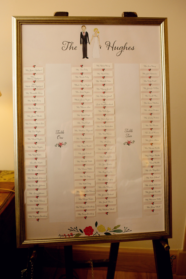 Framed Watercolor Seating Chart
