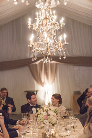 Gold Chandelier in Reception Tent