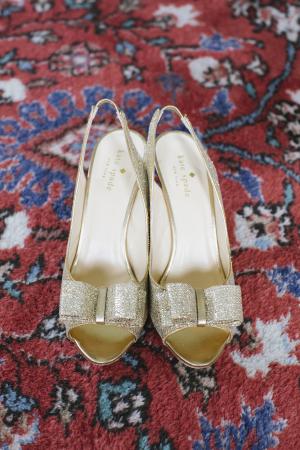Gold Glitter Kate Spade Bridal Shoes