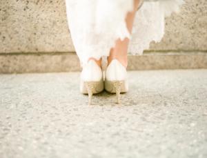 Gold Glitter on Bridal Shoe Heels