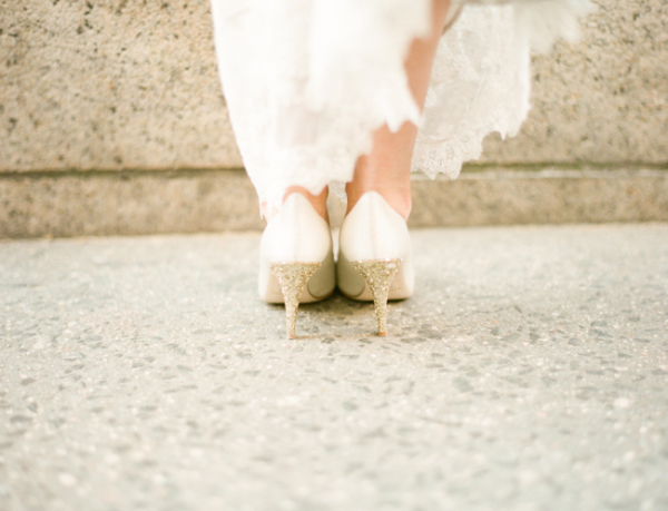 Gold Glitter on Bridal Shoe Heels