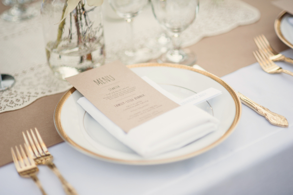 Gold and Burlap Reception Table Decor