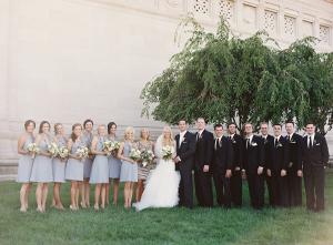 Gray Blue Ruffled Bridesmaids Dresses