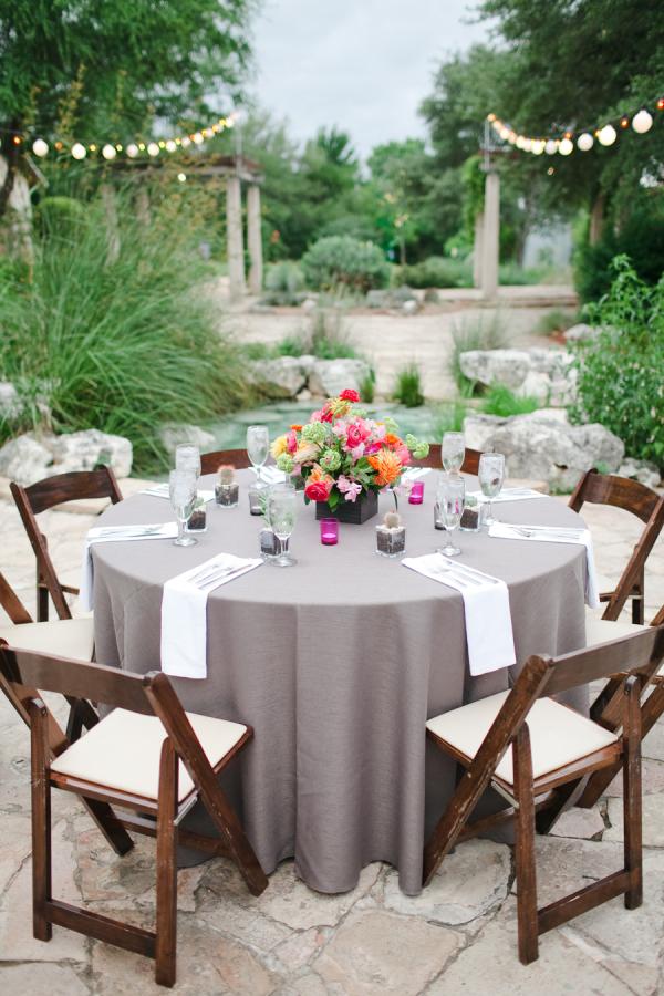 Gray Linens At Reception Elizabeth Anne Designs The
