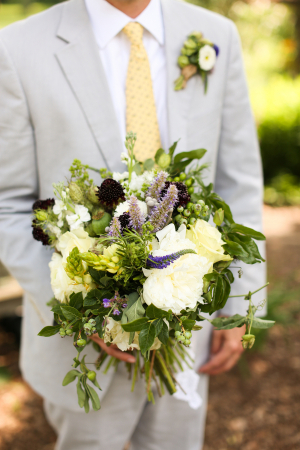 Gray and Yellow Grooms Suit