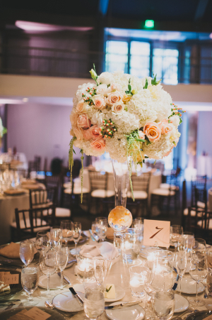 Hydrangea and Rose Topiary in Glass Vase Reception Decor