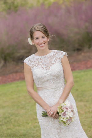 Lace Bridal Gown With Satin Belt