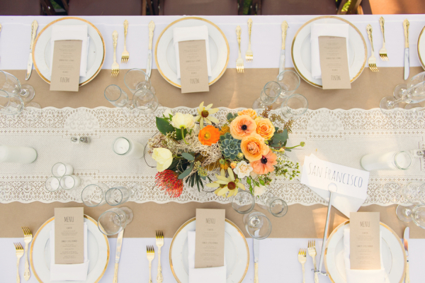 Lace Burlap and Gold Reception Table Decor