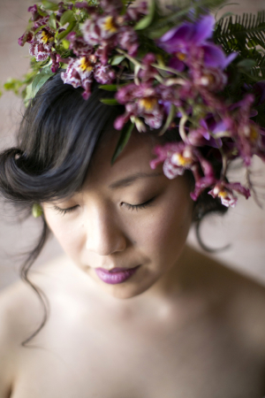 Lavender Floral and Green Fern Bridal Hairpiece