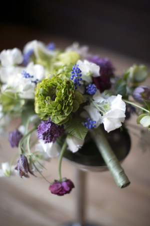 Lavender and Button Mum Boutonniere