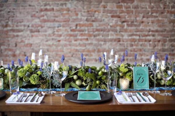 Lavender and Succulent Garland Centerpiece