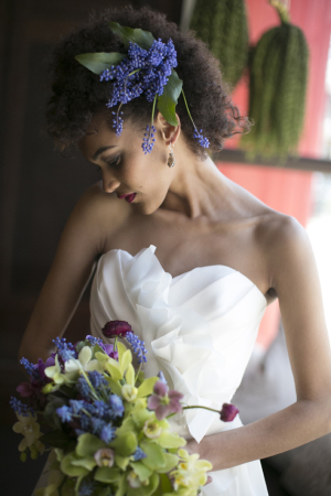 Lavender and Wax Leaf Bridal Hairpiece