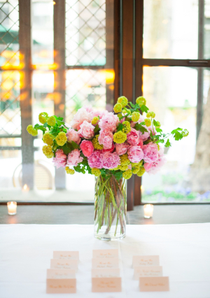 Long Stemmed Pink and Green Flowers in Vase