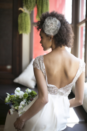 Open Back Sheer Lace Bridal Gown