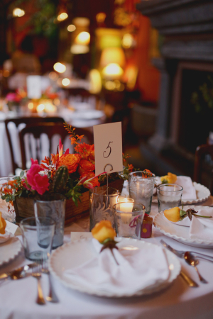 Orange Pink and Yellow Florals Reception Decor