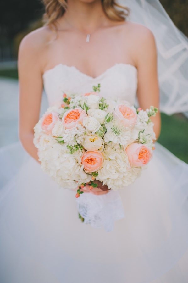 Beau Peach Garden Rose And White Hydrangea Bridal Bouquet