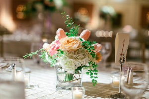 Peach Pink and Cream Flowers With Baby Fern
