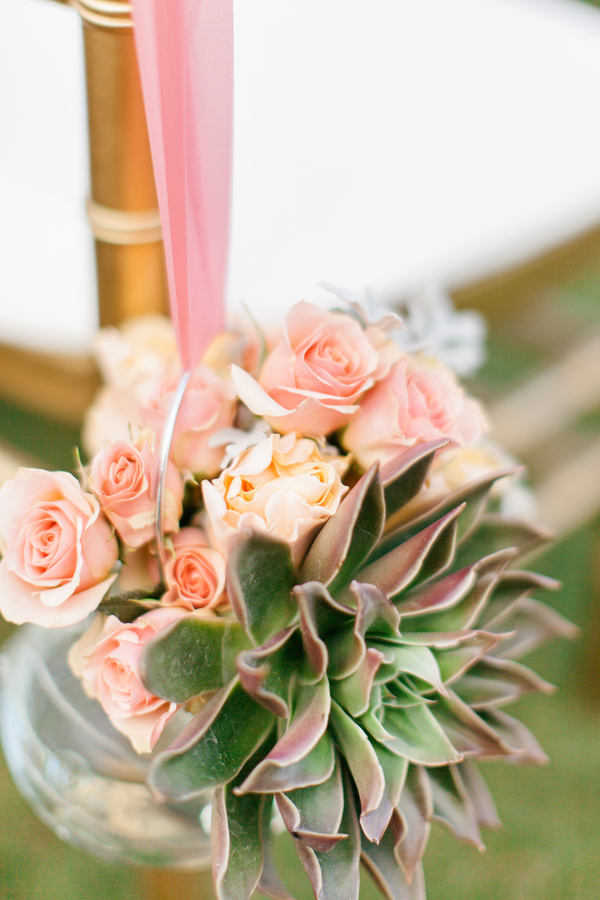 Peach Roses and Succulent in Glass Jar