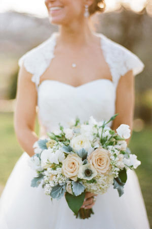 Peach and Cream Bouquet With Dusty Miller