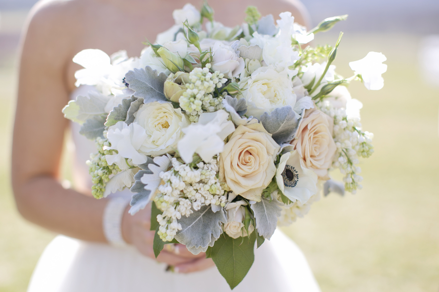 Peach And Cream Flower Bouquet With Dusty Miller