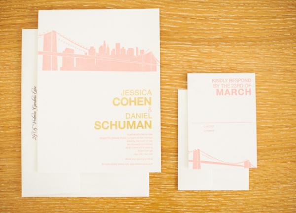 Pink Letterpress Brooklyn Bridge Wedding Invitations