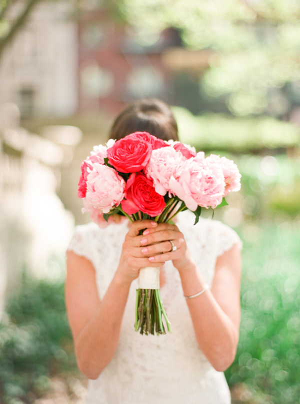 pink peony and garden rose bouquet