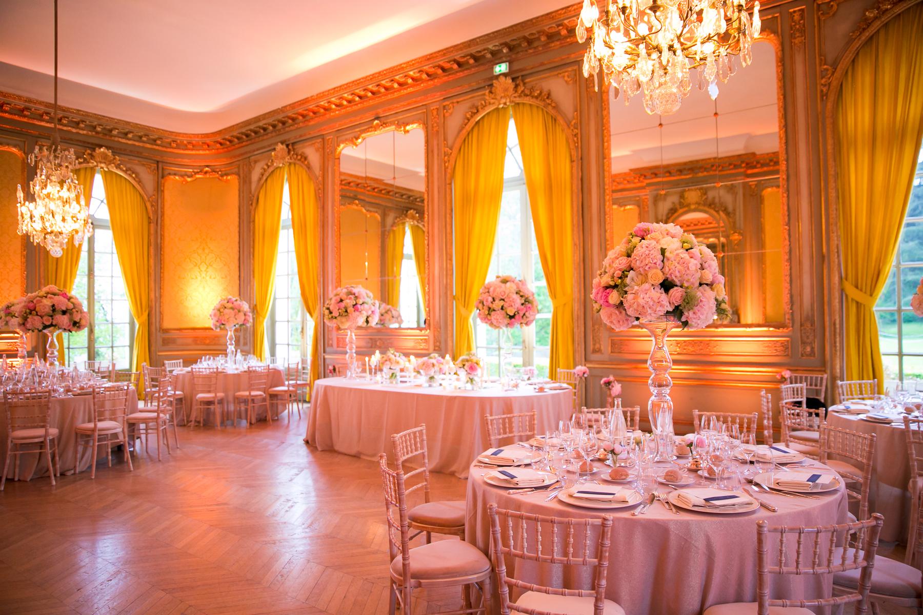 Pink Reception Decor France Destination Wedding