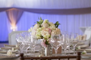 Pink and Green Flowers Reception Decor