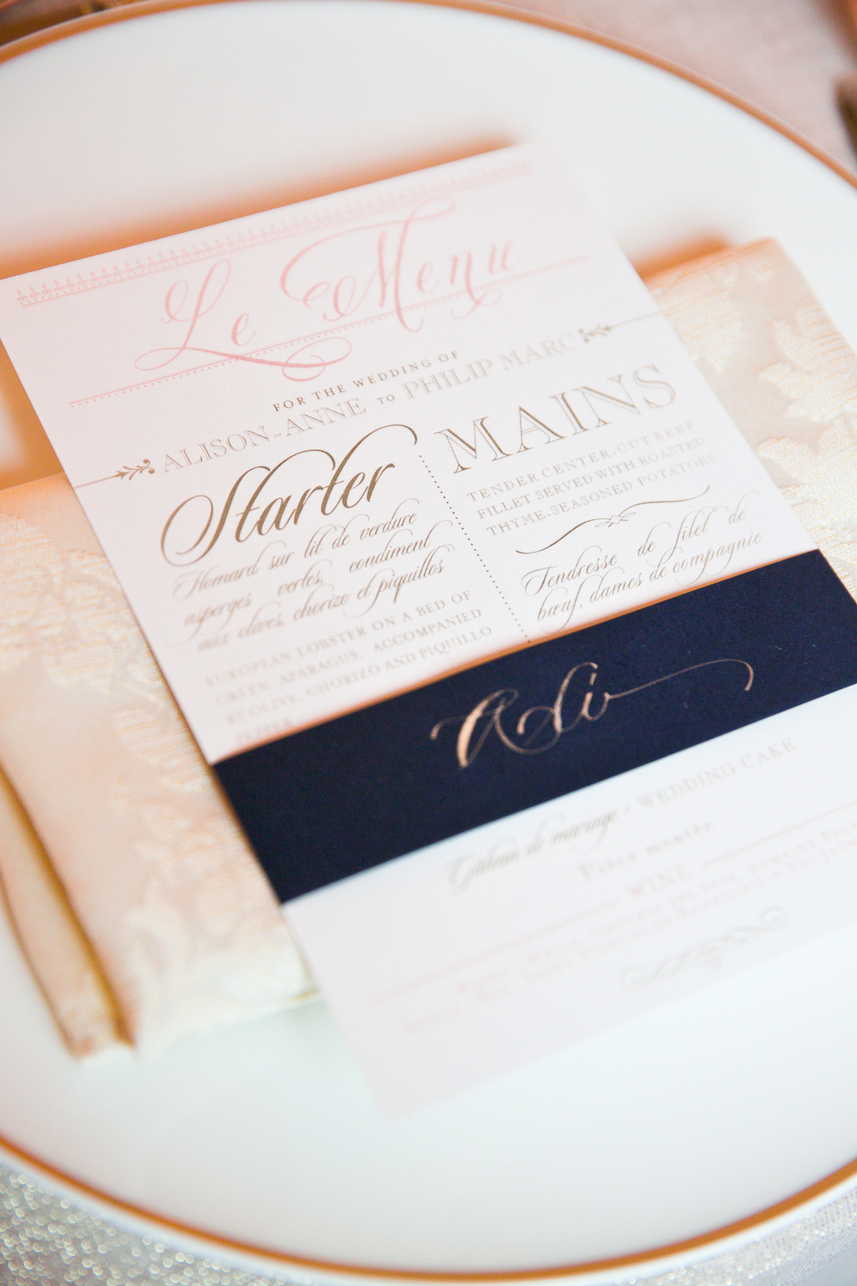 Pink and Navy Letterpress Reception Menu