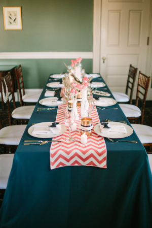 Preppy Teal and Coral Reception Decor