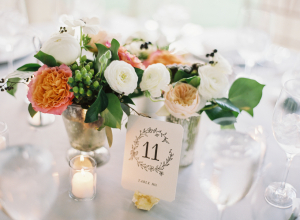 Reception Flowers in Mercury Glass Vases