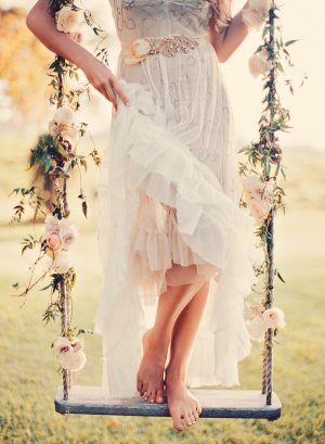 Rustic Rope and Flower Swing on Tree