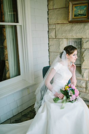 Scalloped Bridal Gown and Lace Veil