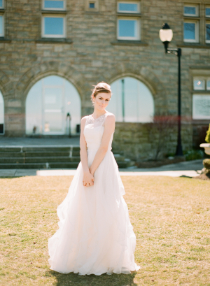 Sheer Bridal Gown With Tulle Skirt