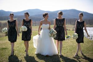 Short Black Lace Bridesmaids Dresses